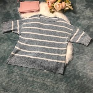 Gap Blue & White Striped Short Sleeved Sweater